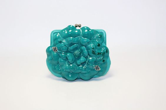 Brighton Roselie Turquoise Flower Leather Coin Pouch New #Brighton #ShoulderBag