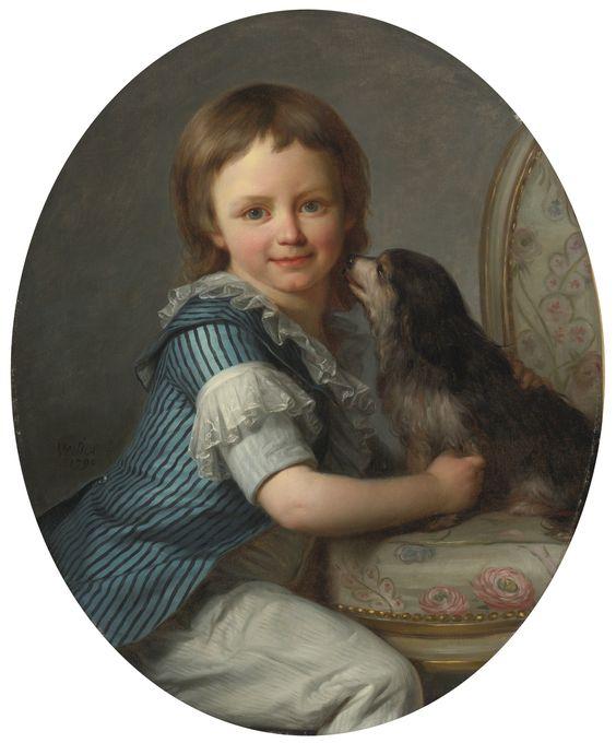 Antoine Vestier, PORTRAIT OF A YOUNG BOY, POSSIBLY HENRI DELACROIX, AND HIS SPANIEL, 1790, Sotheby's