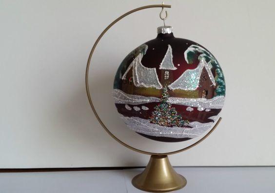 Boule de no l en verre peinte la main ebay nos matriochkas pinterest ebay - Boule de noel en verre ancienne ...