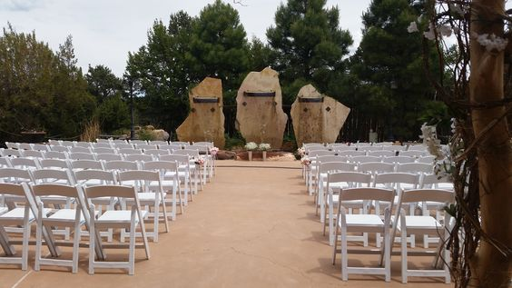 The back patio facing our three fountains - The perfect outdoor ceremony site!