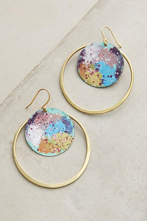 Slide View: 1: Galactic Hoop Earrings