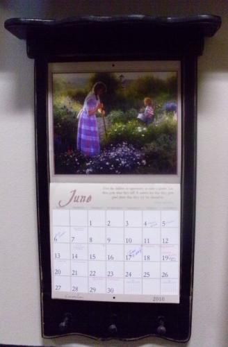 Calendar Wooden Holder : Wooden frame with shelf and pegs is quot deep