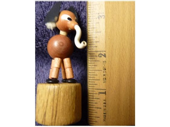 Vintage Miniature Hand-Carved Wooden Elephant Push Puppet Made in Italy