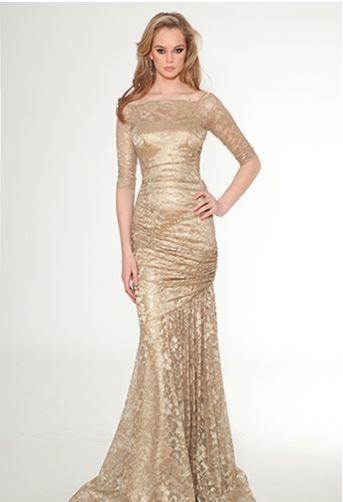 Teri Jon gold evening gown #TeriJon #Gold | Metallics/Glam Gold ...