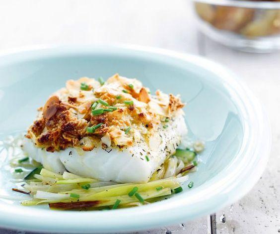 Recette gourmande avec astuce Lignac : Crumble de poisson aux amandes