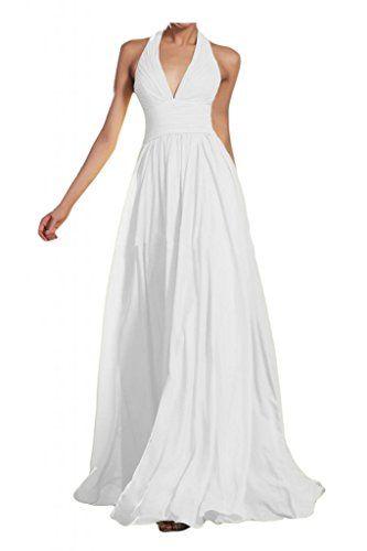 Gorgeous Bride Modisch V-Ausschnitt Neckholder Empire Chiffon Lang Abendkleid Ballkleid Brautjungfernkleid -38 Weiss Gorgeous Bride http://www.amazon.de/dp/B00O8RR8MO/ref=cm_sw_r_pi_dp_RuIWwb0B2P28W