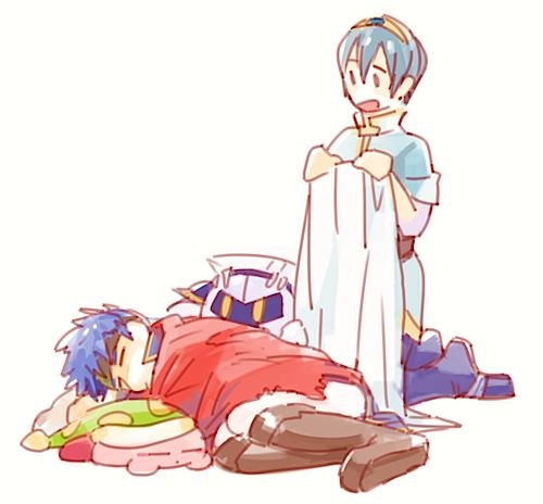 Sleeping Kirby and Ike, Meta Knight and Marth