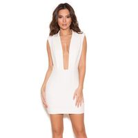 'Tomsa'  White Deep V Structured Dress