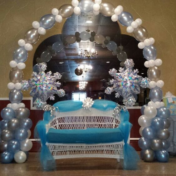 Winter Wedding Arch Decoration Ideas: Winter Wonderland Balloon Arch And Baby Shower Chair