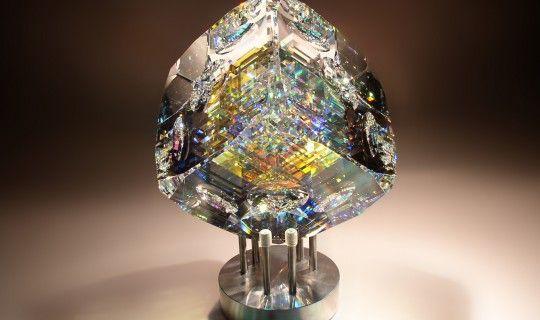 Beveled Cube | Glass Sculpture by Fine Art Glass Artist Jack Storms
