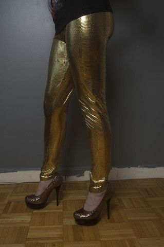 Sexy GOLD METALLIC SNAKE PYTHON REPTILE THREADS LEGGINGS STRETCH Tight – Treats and Threads