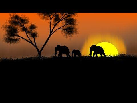 Safari Sunset Speed Painting رسم غروب الشمس Youtube Sunset Acrylic Painting Painting