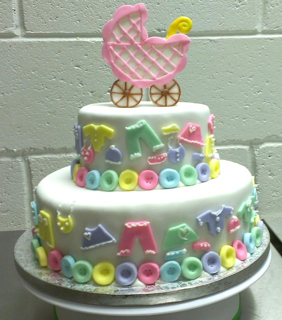 Baby shower cake with baby carriage custom designed by Crystals Natural Bakery