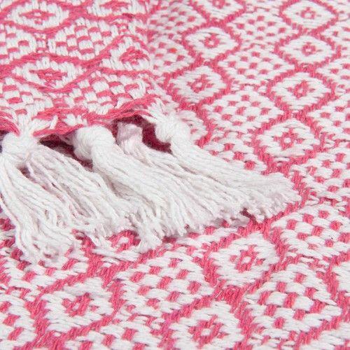 Jeté en coton rouge/blanc 160 x 210 cm ÉGLANTINE