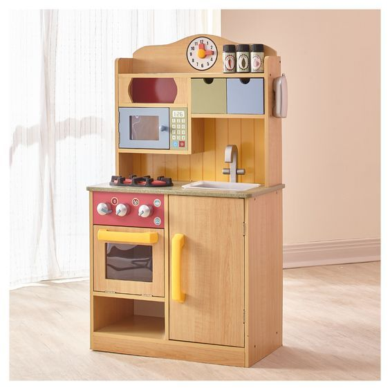 Teamson Kids Little Chef Wooden Toy Play Kitchen Burlywood Wooden Play Kitchen Kitchen Sets For Kids Play Kitchen Wood