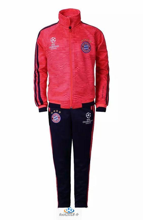 jogging nouveau Champions League Survetement Bayern Munich Enfant Rouge 2016 pas chere