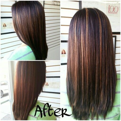 long straight dark brown hair with caramel highlights