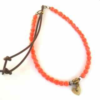 #coral #crystal bracelet with easy slide opening/closing slide  #leather #tassel by Etelage SHOP the Boho Jewellery Collection www.etelage.com