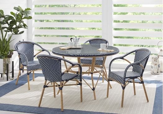 Juliette Blue 5 Pc Outdoor Dining Set Rattan Dining Table