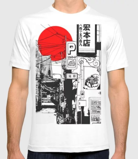 Beautiful Landscape Of Sunrise In The Streets Of Tokyo Japan Drawing Sunrise Street Landscape Shirt Tee Shirt Designs T Shirt Shirt Design Inspiration