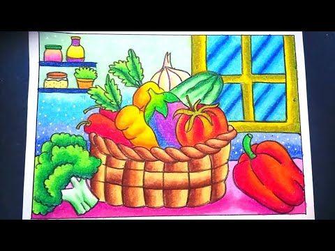 Menggambar Dan Mewarnai Sayuran Dalam Keranjang Dengan Gradasi