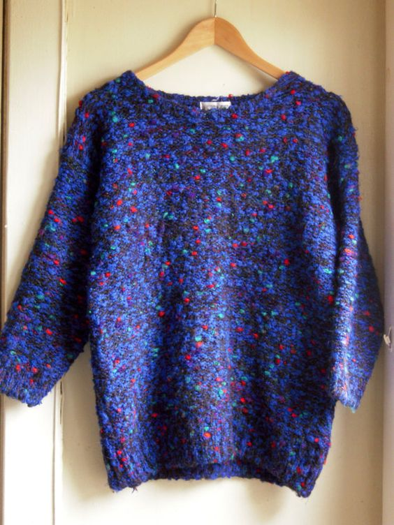 Gorgeous blue sweater with specks of bright by DolledUpVintage, $19.99
