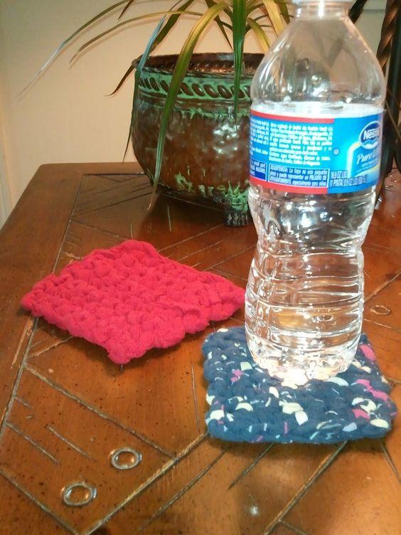 CrazySocks Crochet: CROCHET PATTERN - Upcycled T-shirt Coasters
