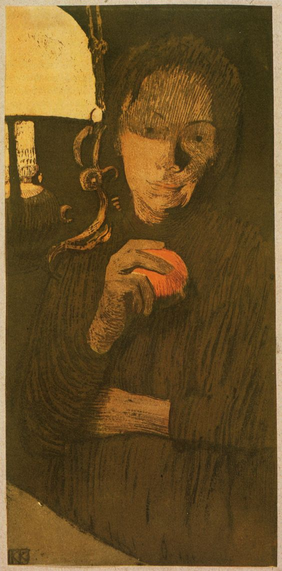 Käthe Kollwitz (1867-1945), Woman with Orange (1901), colour etching, aquatint, and lithograph on paper mounted on grey-violet card, 16 x 27.9 cm (image). Via animus-inviolabilis.: