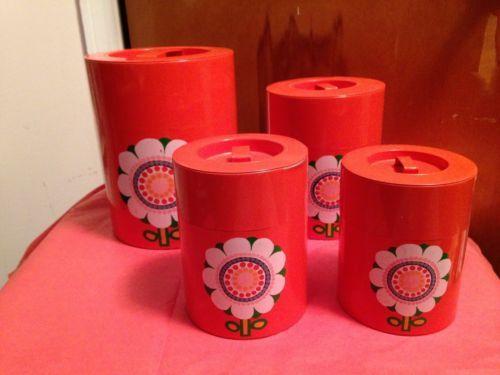 Vintage Set 4 Orange Tin Canisters 60's 70's Retro Daisy Flower Creative Imports | eBay