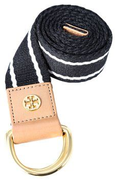 GB1028446K  Tory Burch Striped Webbing Belt  Add the forever-favorite combo of…
