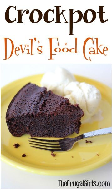 Crockpot Devis Food Cake! ~ from http://TheFrugalGirls.com ~ making cakes in your crockpot is SO easy, and they turn out delicious and moist! #crockpot #cake #recipes