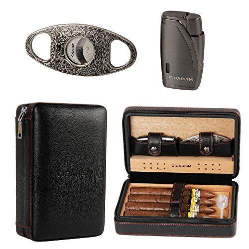 75 00 Travel Cigar Humidor Cigarism Cedar Lined Cigar Case Travel Humidor W Cutter Set 4 Count Black 2019 Hot Rated Products Cigar Cases Travel Humidor Cigar Travel Case