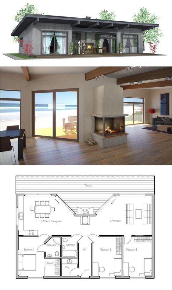 Elegant Small House Plans One Story Modern Small House Plan Denah Lantai Rumah Arsitektur Rumah Rumah Kontainer