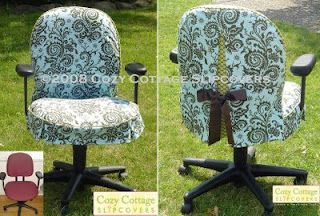Turn your office chair from drab to fab in a fresh new slipcover. The slipcover is made so that it allows the chair to remain fully adjustable. I used Amy Butler's Nigella fabric