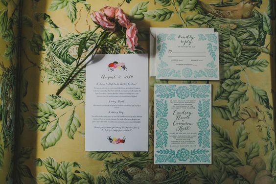 blue wedding invitations - photo by Teale Photography http://ruffledblog.com/old-edwards-inn-wedding