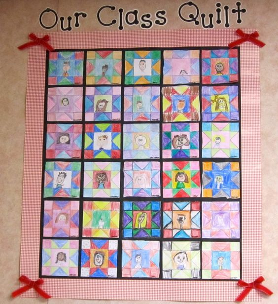 Modern Classroom Blocks ~ Class quilt use for pioneer lesson each child shows a