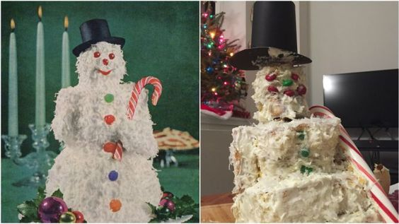 Fusion.net - A disturbing evening spent preparing vintage Christmas recipes - Photo: Snowman comparison