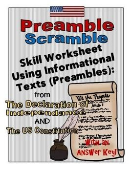 Enjoy this FREE resource! Use this informational text skill sheet to practice reading and writing skills during Constitution Day or with a unit on the American Revolution. This resource can also be used as a stand-alone.This skill sheet includes the Preamble of the US Constitution and the Declaration of Independence.