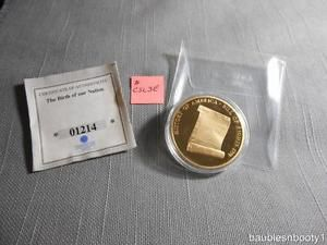 AMERICAN MINT 2009 Bill of Rights Coin CU Layered 24k Gold Proof 40mm MEDAL 01214