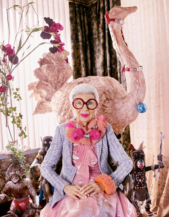 I like to think this is how I will be when I am older!  Style icon Iris Apfel puts her personal stamp on Damian Foxe's selection of the season's standout pieces. Photography by Luis Monteiro. PLUS: BEHIND-THE-SCENES VIDEO