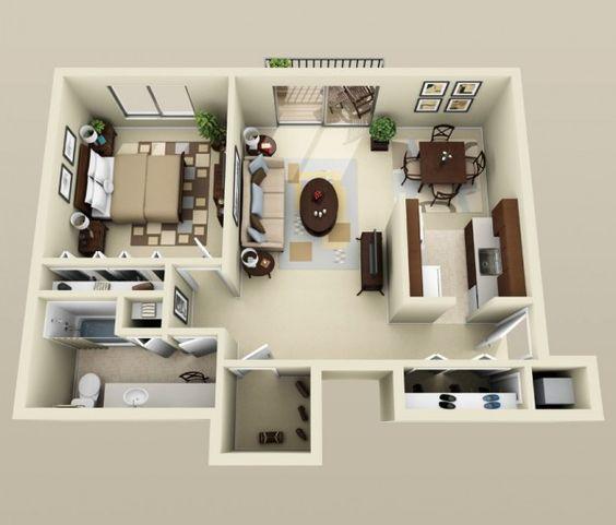 50 plans en 3d d appartement avec 1 chambres coiffeuses for Plan 3d chambre