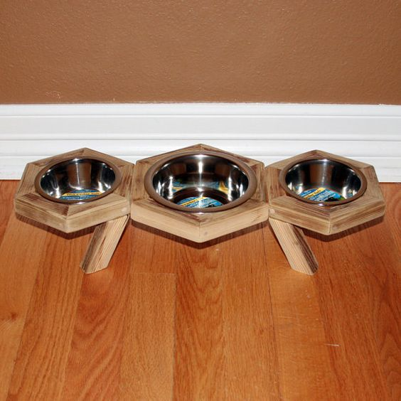 Two Pet Feeder with Center Water Bowl  Barnwood  Small by avtra, $38.99