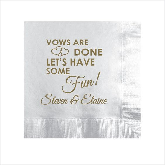 350 Vows are Done Let's have some fun! Custom Personalized Wedding Beverage Dessert Napkins by Factory21
