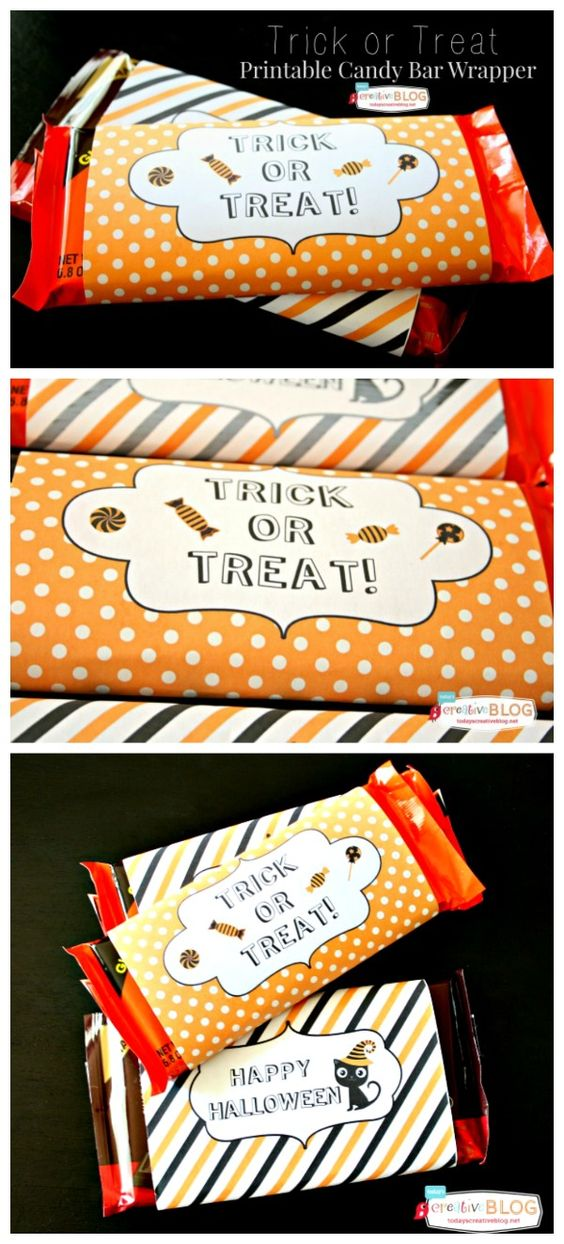 Halloween Printable Candy Bar Wrappers | Trick or Treat Printables | Printable Wrappers for Candy Bars | Easy Halloween Ideas | Get your free download by clicking on the photo. TodaysCreativeLife.com