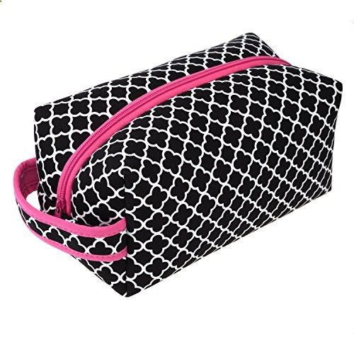 Protective Neoprene 9 inch Zipper Closure Travel Cosmetic Bag (Clover Pink). View website for more description.