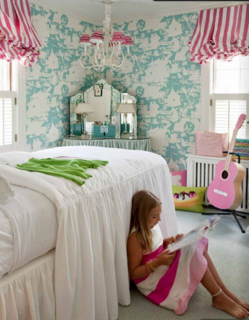 Girls bedroom turquoise girls bedroom and bedroom for Turquoise wallpaper for bedroom