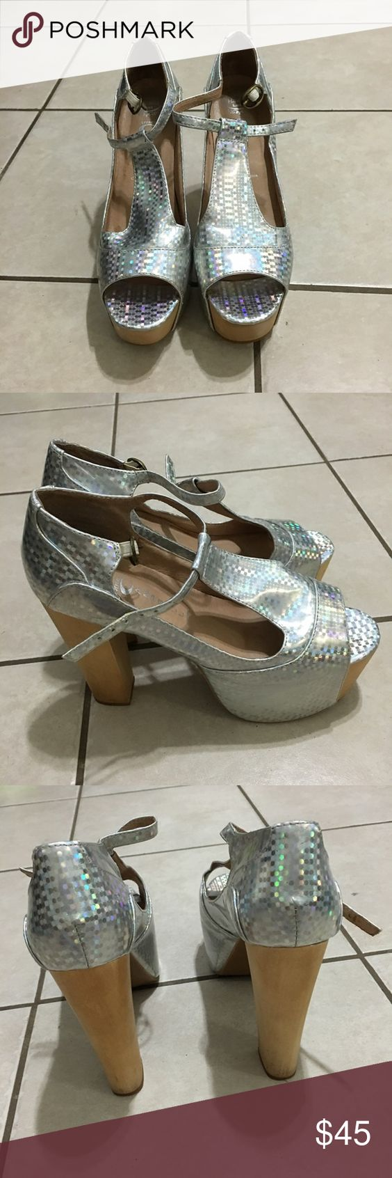 Jeffrey Campbell Open shoes sandals size 6.5 Color a little bit fading, some scratches or marks, need a little cleaning, still in great condition Jeffrey Campbell Shoes Wedges