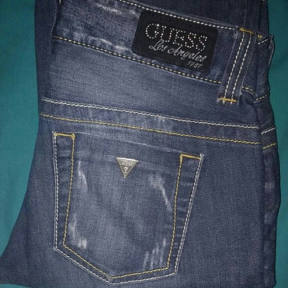 Guess Jeans Size 27. Inseam 34 Like New. Distressed. Guess Jeans Boot Cut