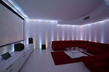 home cinema with led colour changing lights