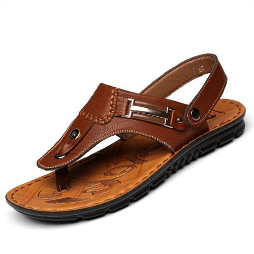 Mens Summer Leather Sandals Slippers Casual Beach Flip Flops Flat With Sandals